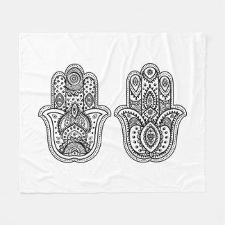 Hand Drawn Hamsa With Ornaments Fleece Blanket