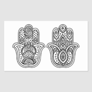 Hand Drawn Hamsa With Ornaments Rectangular Sticker