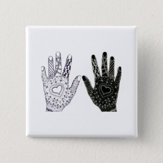 Hand Drawn Heart Doodled Hands 15 Cm Square Badge