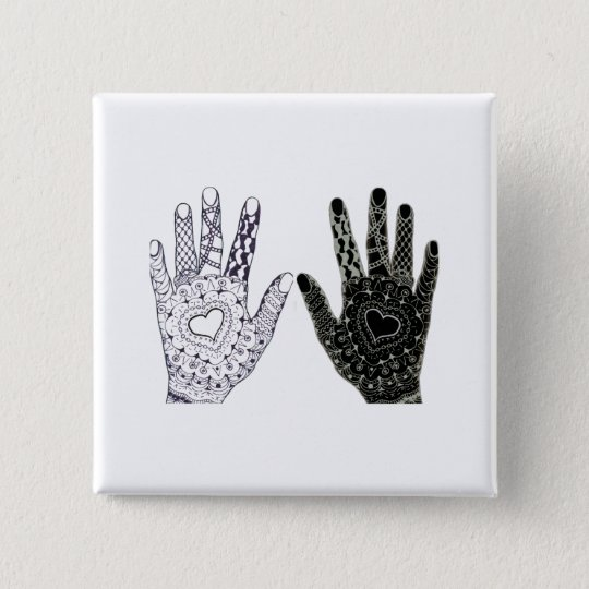 Hand Drawn Heart Doodled Hands 15 Cm Square
