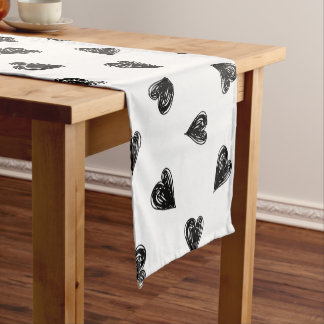 Hand Drawn Hearts Table Runner