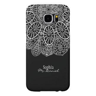 Hand Drawn Henna Circle Design Black and White Samsung Galaxy S6 Cases