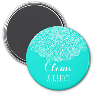 Hand Drawn Henna Circle Design Bright Aqua Blue Fridge Magnets
