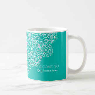 Hand Drawn Henna Circle Design Bright Pool Blue Coffee Mug