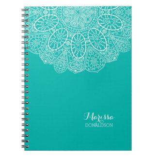 Hand Drawn Henna Circle Design Bright Pool Blue Spiral Notebook