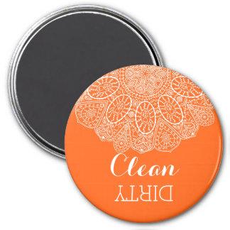 Hand Drawn Henna Lace Design Bright Citrus Orange Fridge Magnets