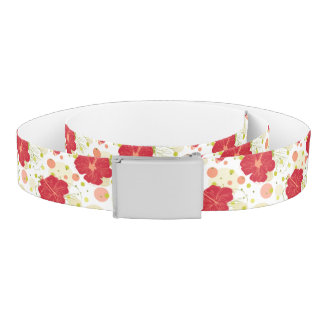 Hand Drawn Hibiscus Pattern Belt