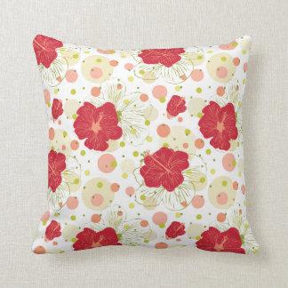 Hand Drawn Hibiscus Pattern Cushion