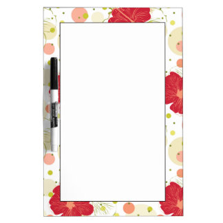 Hand Drawn Hibiscus Pattern Dry Erase Board