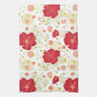 Hand Drawn Hibiscus Pattern Hand Towels