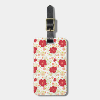 Hand Drawn Hibiscus Pattern Luggage Tag