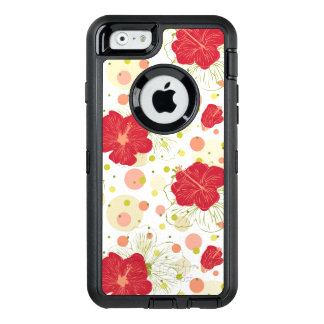 Hand Drawn Hibiscus Pattern OtterBox Defender iPhone Case