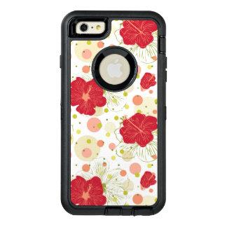 Hand Drawn Hibiscus Pattern OtterBox Defender iPhone Case