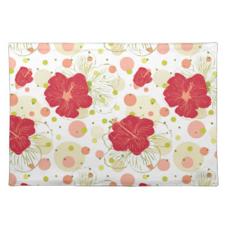 Hand Drawn Hibiscus Pattern Placemat