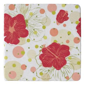 Hand Drawn Hibiscus Pattern Trivet