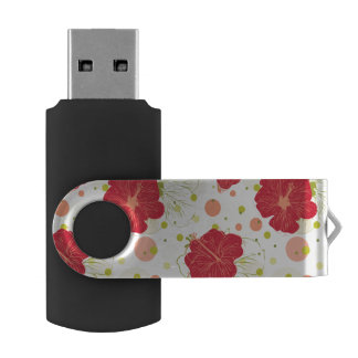 Hand Drawn Hibiscus Pattern USB Flash Drive