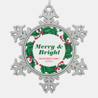 Hand Drawn Holly Snowflake Pewter Christmas Ornament