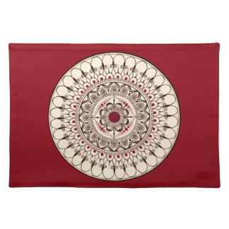 Hand Drawn Intricate Red Mandala Placemat