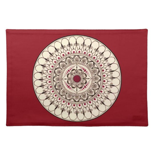 Hand Drawn Intricate Red Mandala Placemat