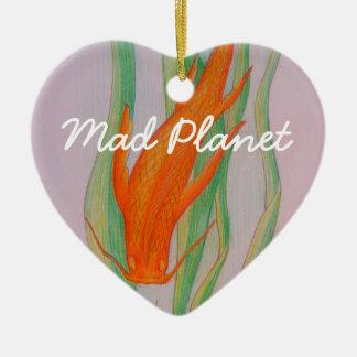 Hand Drawn Koi Carp Ceramic Heart Decoration