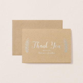 Hand Drawn Leaves Kraft Paper Thank You Foil Card