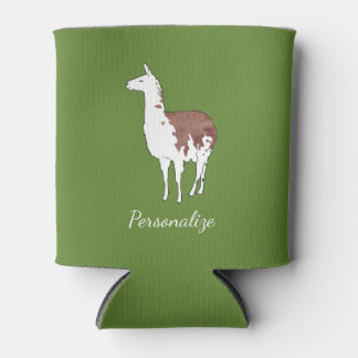 Hand Drawn Llama U-Pick Background Color Can Cooler