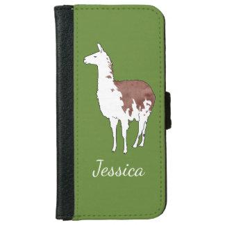 Hand Drawn Llama U-Pick Background Color iPhone 6 Wallet Case