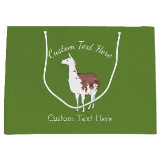 Hand Drawn Llama U-Pick Background Color Large Gift Bag