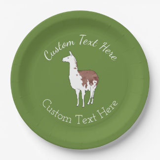 Hand Drawn Llama U-Pick Background Color Paper Plate
