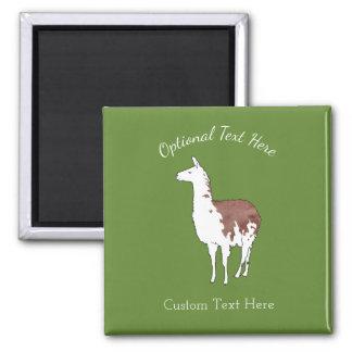 Hand Drawn Llama U-Pick Background Color Square Magnet