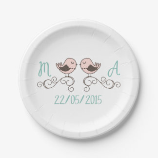 Hand Drawn Love Birds - Custom Paper Plates