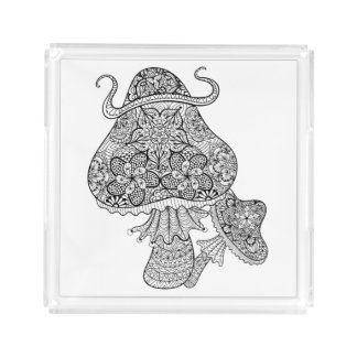 Hand Drawn Magic Mushrooms Doodle Acrylic Tray
