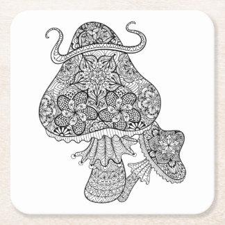 Hand Drawn Magic Mushrooms Doodle Square Paper Coaster