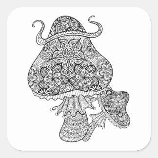 Hand Drawn Magic Mushrooms Doodle Square Sticker