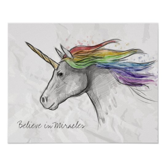 Hand Drawn Magical Unicorn. Believe in Miracles. Poster