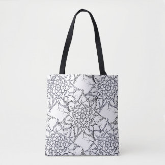 Hand Drawn, Mandala, Black and White, Zen, Heart Tote Bag