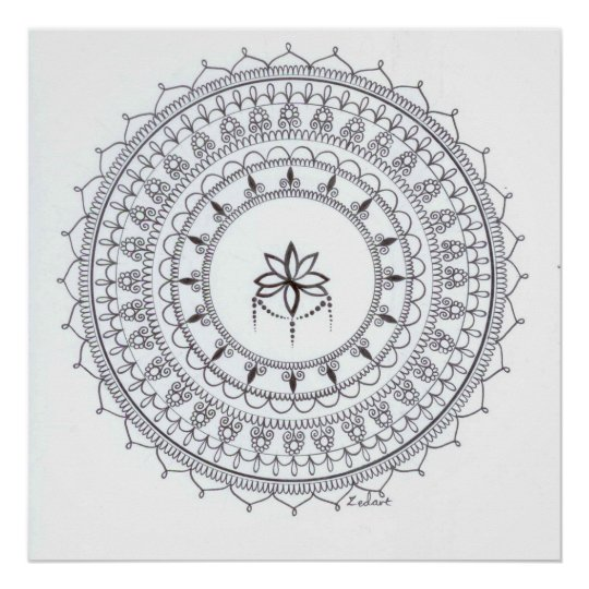Hand Drawn Mandala Poster For Colouring In
