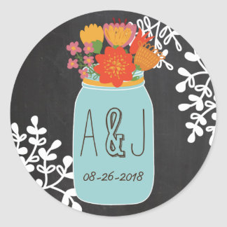 Hand Drawn Mason Jar & Flowers Chalkboard Monogram Classic Round Sticker