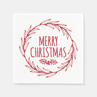 Hand Drawn Merry Christmas Wreath Holiday Napkins Disposable Napkin