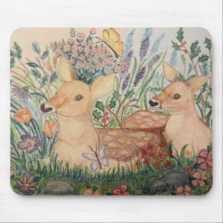 Hand Drawn mother deer and Fawn Mouse Pads