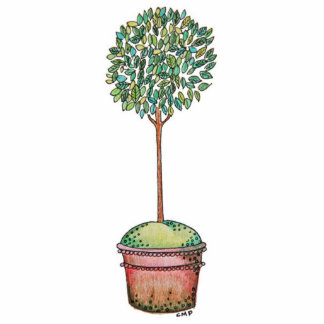 Hand Drawn Myrtle Topiary Cutout Standing Photo Sculpture