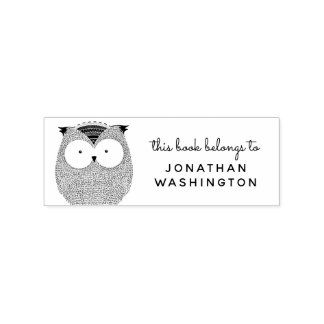 Hand-drawn Owl This Book Belongs To Custom Name Rubber Stamp