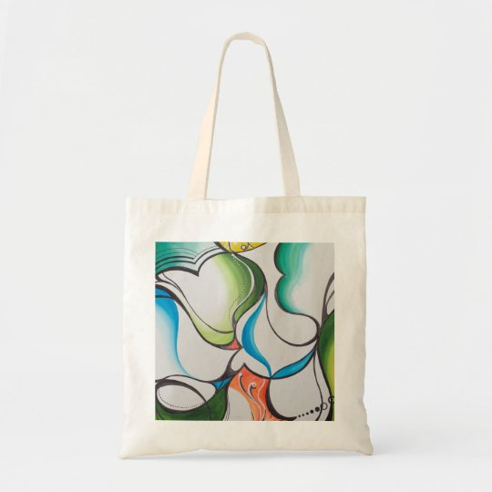 hand drawn painted abstract tote bag