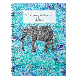 Hand drawn paisley boho elephant blue turquoise notebook