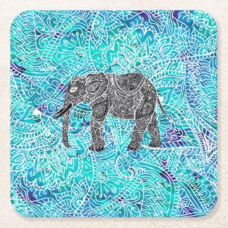 Hand drawn paisley boho elephant blue turquoise square paper coaster
