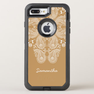 Hand Drawn Paisley Pattern on Gold, OtterBox Defender iPhone 8 Plus/7 Plus Case