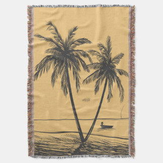 Hand drawn palm trees and Beach Throw Blanket