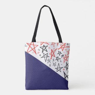 Hand Drawn Patriotic Stars Tote Bag