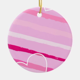 Hand Drawn Peppermint Valentine Stripes and Heart Christmas Ornament