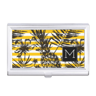 Hand Drawn Pineapples | Monogram Business Card Holder